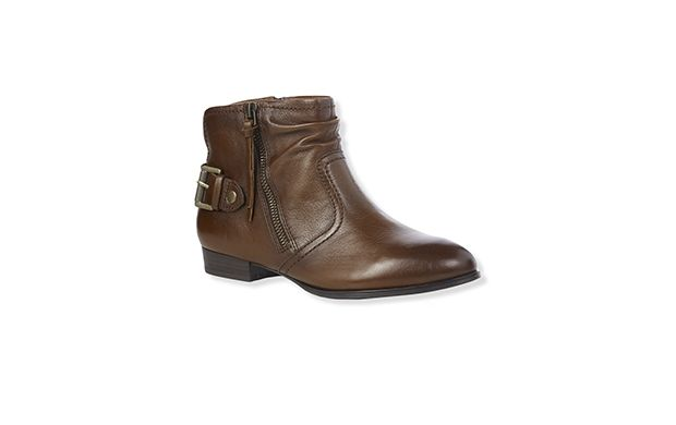 "Brown Zipped Biker Boot. ""We love the cool vintage finish on these soft flat biker boots."""