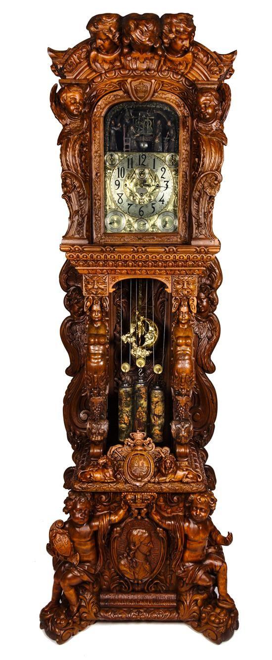 A Monumental English Carved Oak Tall Case Clock, LAST QUARTER 19TH CENTURY,