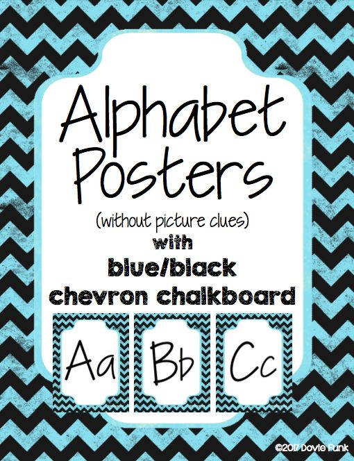 Alphabet Posters in Italics - Blue and Black Chalkboard Chevron