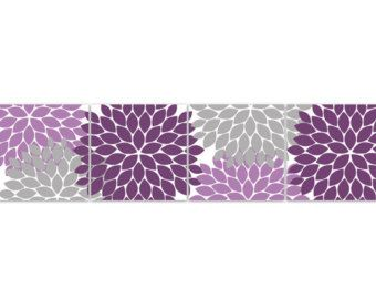Home Decor Wall Art INSTANT DOWNLOAD Purple and Grey Flower