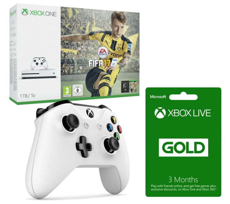 MICROSOFT  Xbox One S with FIFA 17 with Controller & 3 Months Xbox LIVE Gold Membership Bundle - 1 TB, Gold Price: £ 349.99 Settle down to some great gaming with the Microsoft Xbox One S with FIFA 17 & Xbox Wireless Controller Bundle . _____________________________________________________________ Microsoft Xbox One S with FIFA 17 The Xbox One S is an enhanced Xbox console 40% smaller and with...