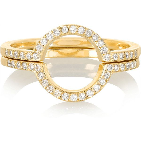 Ileana Makri Circle set of two 18-karat gold diamond rings ❤ liked on Polyvore featuring jewelry and rings