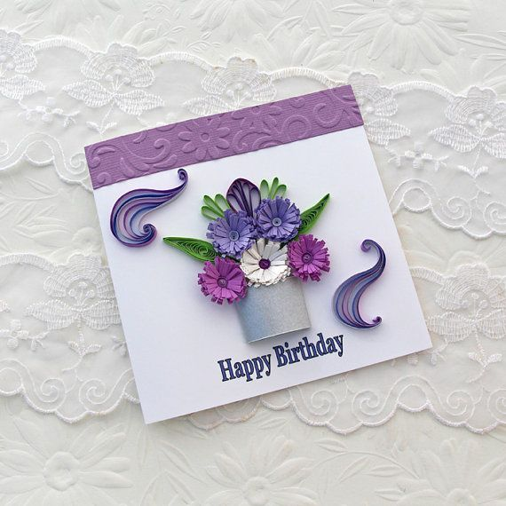 Paper Quilling Card Paper Quilled Silver Pot by EnchantedQuilling, $4.50