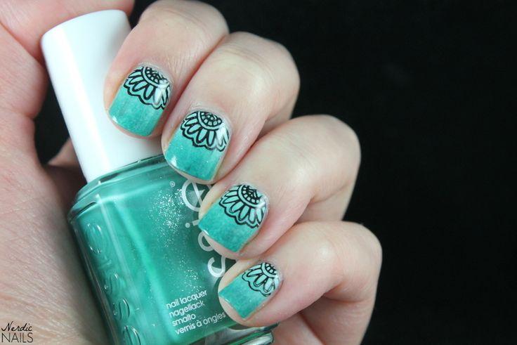 Nerdic Nails. Turquoise gradient stamping.