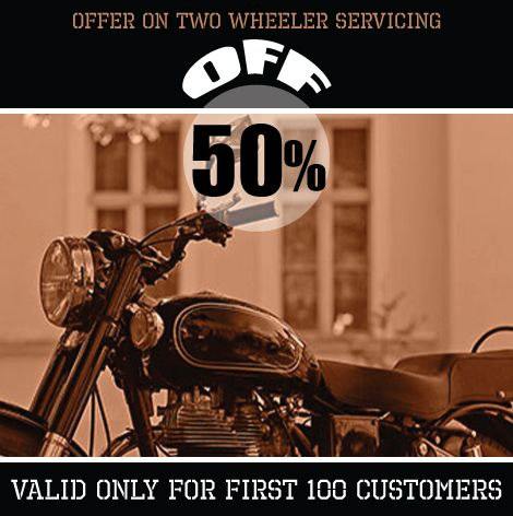 GET AMAZING 50% DISCOUNT ON TWO WHEELER SERVICING at ShopIN deal..