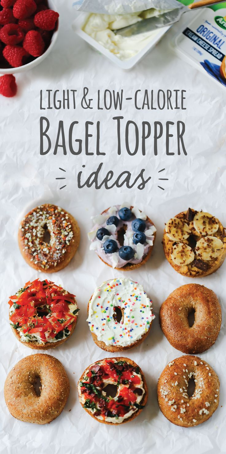 For light and low-calorie bagel toppings that don't hold back on flavor, start with simply better Arla cream cheese and layer on the fruits, veggies and anything else you can think of! Will you choose the blueberry coconut bagel, the Mediterranean bagel, the pizza bagel, the chunky monkey bagel or the confetti sprinkle bagel? Get the recipes now.