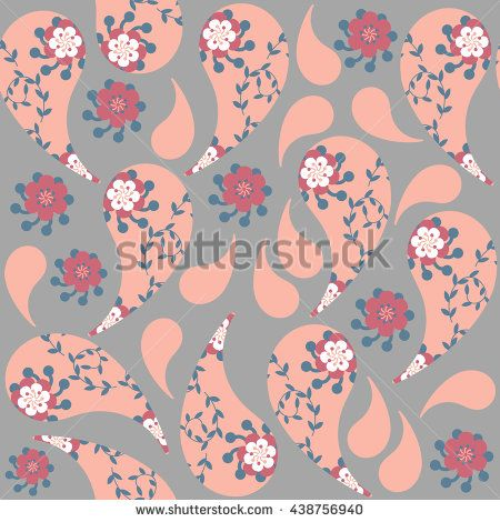 Gentle Paisley seamless pattern and seamless pattern in swatch menu, vector image. Cute texture for design fabric, apparel, clothes, cases. Background made seamlessly - stock vector