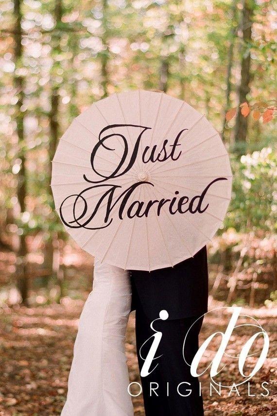 Just Married Wedding Parasol As Seen In Weddings by iDoOriginals, $50.00