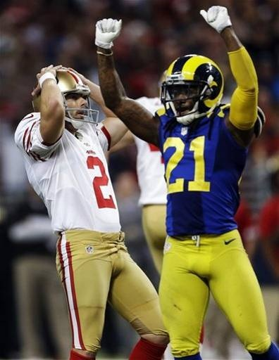 San Francisco 49ers kicker David Akers, left, and St. Louis Rams' Janoris Jenkins react after Akers missed a 51-yard field goal attempt in overtime of an NFL football game, Sunday, Dec. 2, 2012, in St. Louis. The Rams won 16-13. (AP Photo/Jeff Roberson)