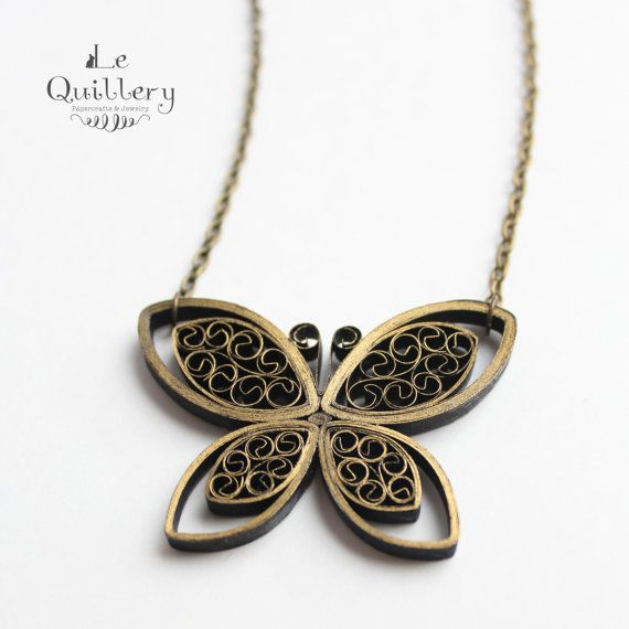 Quilling Jewelry - OOAK Quilled Paper Butterfly Necklace, Black and Gold Antique Style
