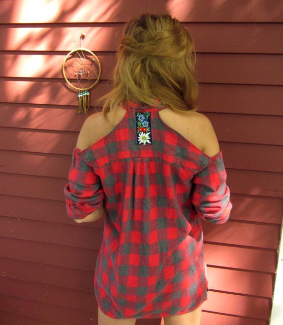 Custom made to order open cold shoulder upcycled plaid for Best custom made dress shirts online