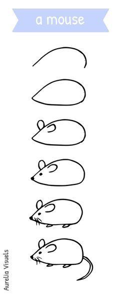 Dessiner une souris - draw a mouse - step by step Plus