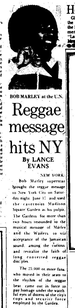 **Bob Marley** 'Reggae message hits NY' by Lance Evans; Jamaica Gleaner, July 2, 1978. ►Read more: http://midnightraverblog.com/2012/07/bob-marley-presented-with-un-peace-medal-1978/ ►►More fantastic press articles & releases, pictures, music and videos of *Robert Nesta Marley** on: https://de.pinterest.com/ReggaeHeart/