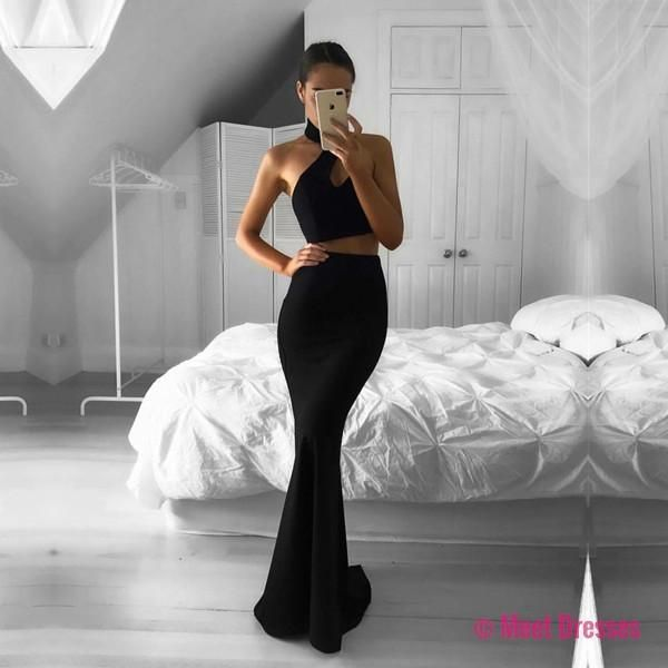Black Halter Two Piece Formal Gown, Backless Mermaid Prom Dress, Party Dress PD20186919