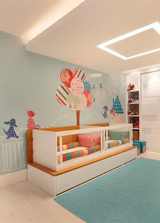 Nayara Macedo Arquitetura: Morar Mais por menos - Quarto dos bebes Gemeos Twin room with interesting fabric styled tree on wall
