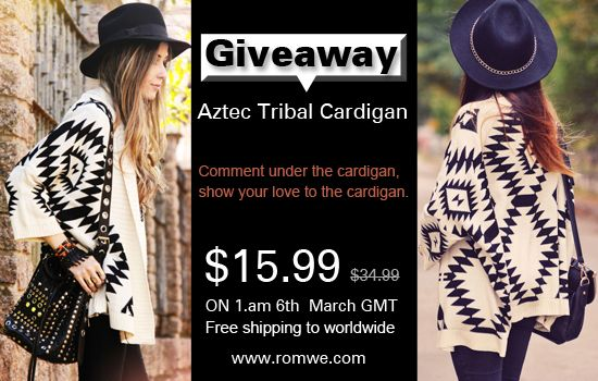 another side of me: Romwe Aztec Tribal Cardigan Giveaway! Open worldwide