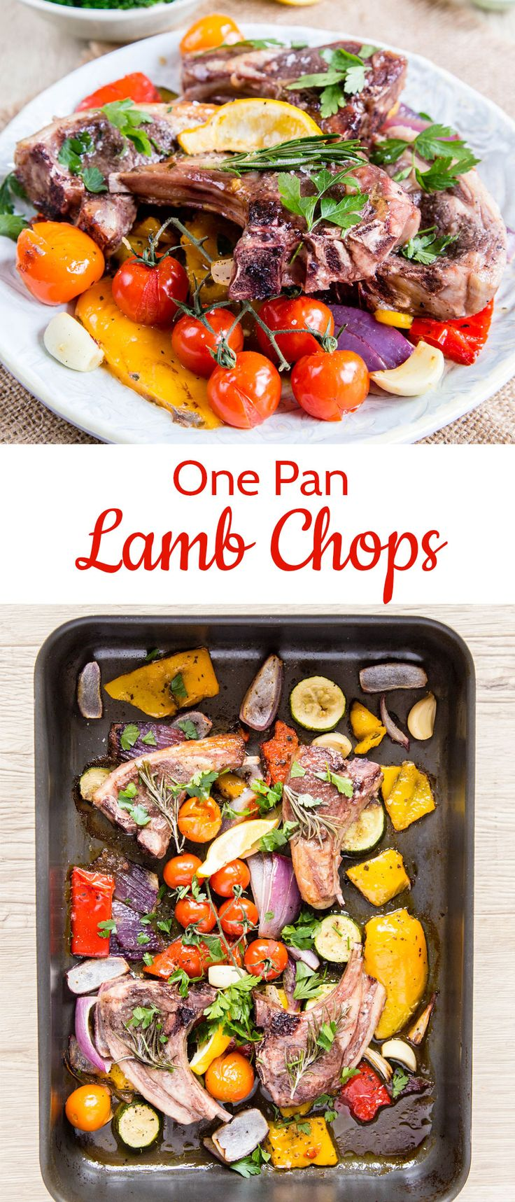 One pan meals are easy to clean up and simple to put together. These one pan lamb chops are a delicious, easy dinner idea that feels fancy enough for a dinner party! #lamb #onepan #dinner #easy