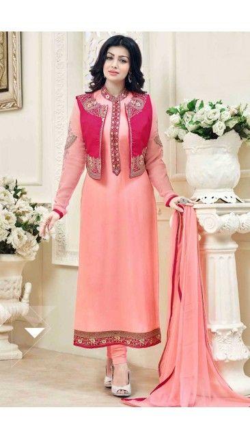 Designer Ayesha Takia Peach Georgette Churidar Suit With Dupatta - DMV14822