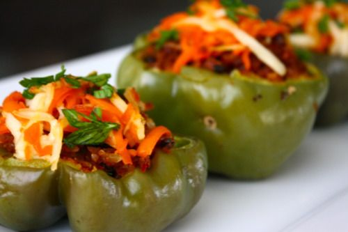 Soyrizo stuffed peppers - I came up with this in my head (with mini peppers as finger food), but glad I found a recipe to compare it to :)
