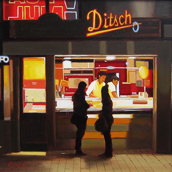 Michael John Ashcroft - The Meeting Liverpool- Oil - Painting entry - April 2016 | BoldBrush Painting Competition
