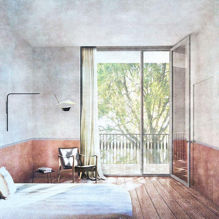 Interior visualisation for London apartment building, Drawing by Anna Pizova (Sir John Cass School of Architecture)