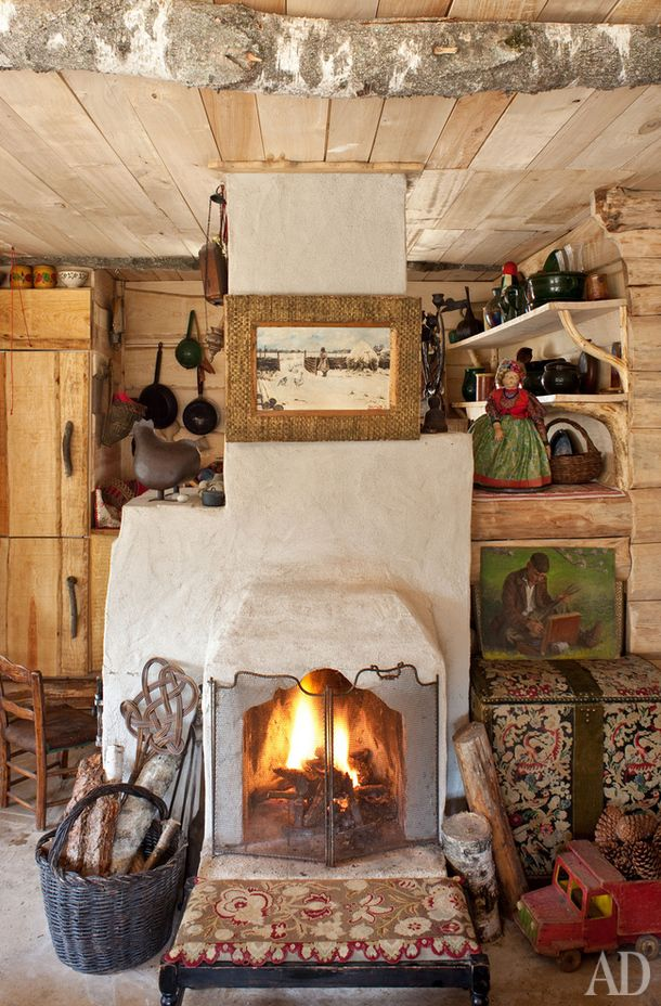 Art of the fireplace, rustic interior