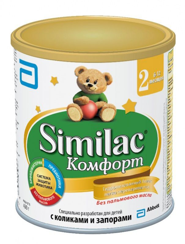 Similac Комфорт 2 От 6 до 12 месяцев Детская сухая смесь на основе частично гидролизованногоых белкаов молочной сыворотки, специально разработана для комфортного пищеварения детей с коликами, запорами и повышенным газообразованием.