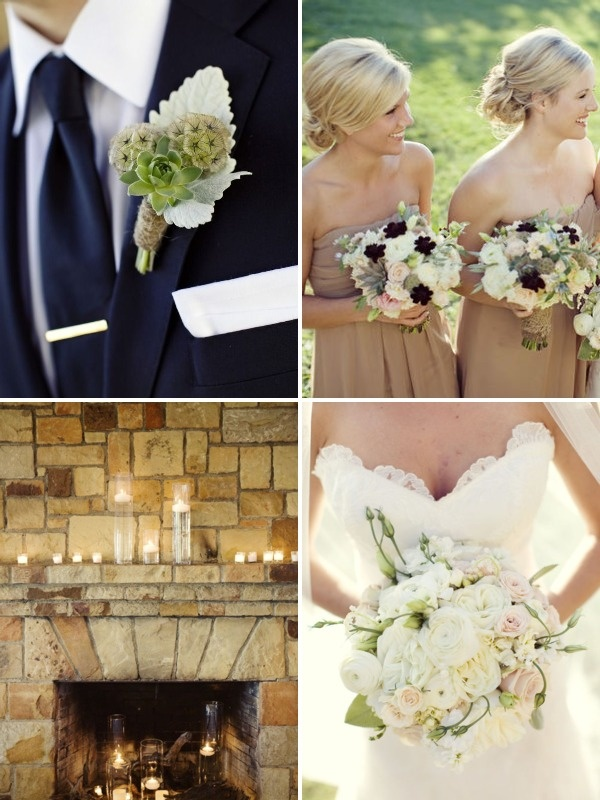 Taupe and cream and navy blue  fall wedding . -- I'm not a big navy fan.. But this is classy and pretty.