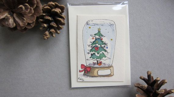 Christmas card Hand made cards with hand paint by Fahfield on Etsy, kr20.00 Christmas tree in snow globe  :-)