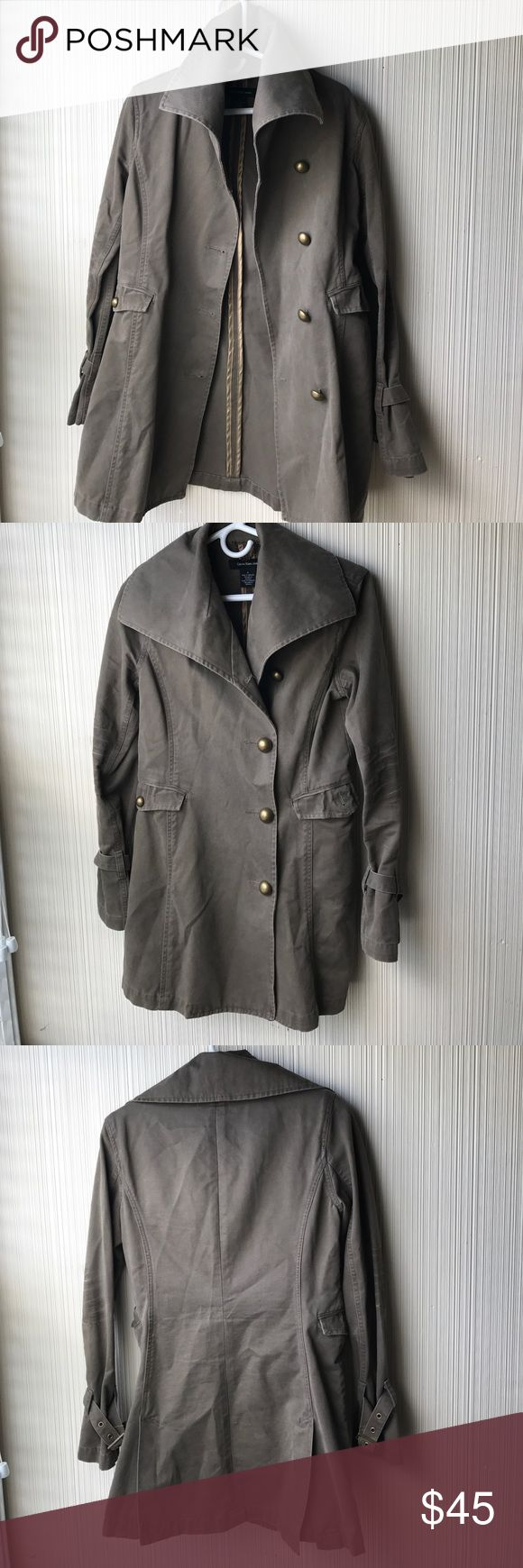Calvin Klein Jeans Cotton Trench This jacket is amazing. Gorgeous dark taupe color with bronze hardware. Factory distressing on the sleeves. Oversized collar and double vent back flap. So chic and perfect for fall. Calvin Klein Jeans Jackets & Coats