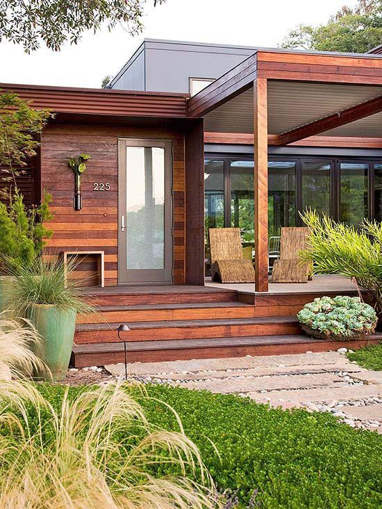 8 best modern wood front doors images on pinterest for Contemporary front porch