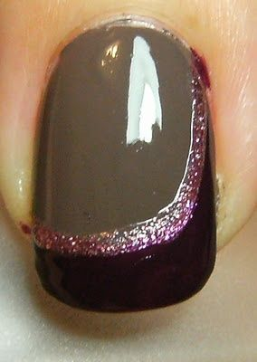 Side-sweep French tips - I love the swipe, but would change the middle color.