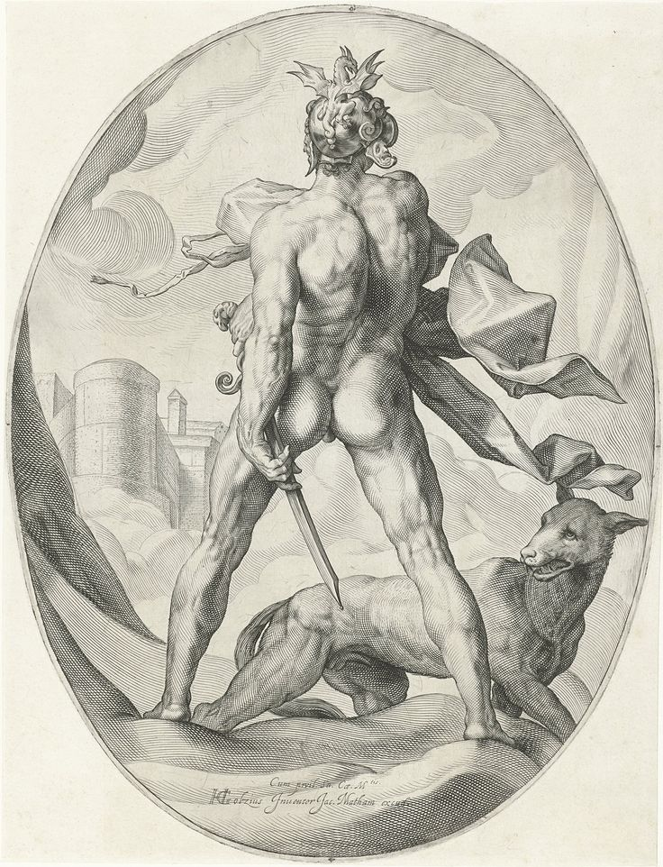 Mars in the clouds by Jacob Matham, 1599-1603. Rijksmuseum, Public Domain