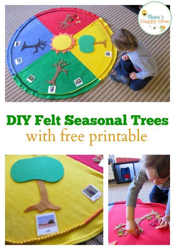 Enjoy 5 Montessori Seasonal Activities that include a beautiful year cycle mat and Montessori year chain. - www.mamashappyhive.com