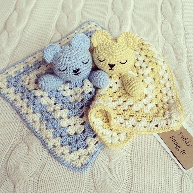 SALE! Cute crochet Snuggly Bear comforter in pink, lemon or blue - great present £9.95