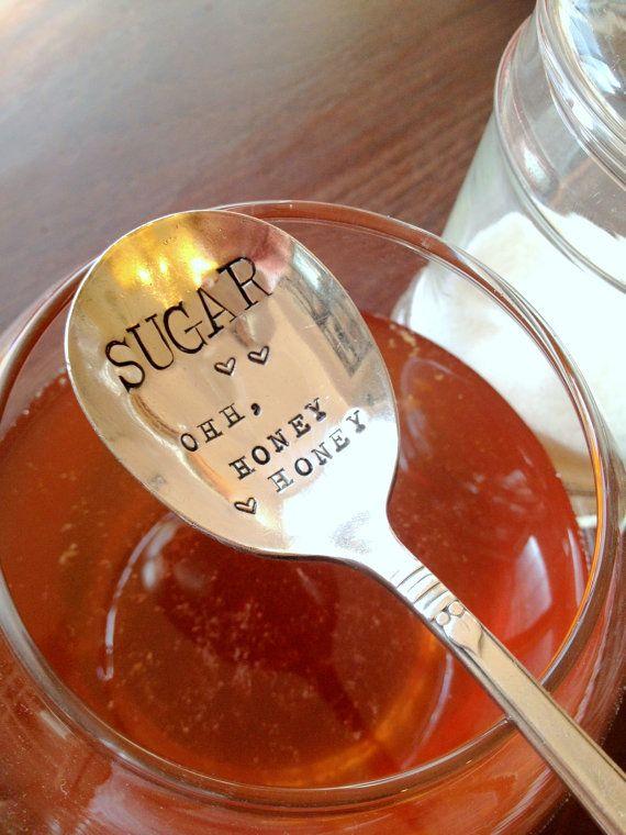 "Sugar Spoon - ""Sugar ohh, honey honey"" - Hand Stamped - Forsuchatimedesigns - Original forsuchatimedesigns - As seen on laurenconrad.com"