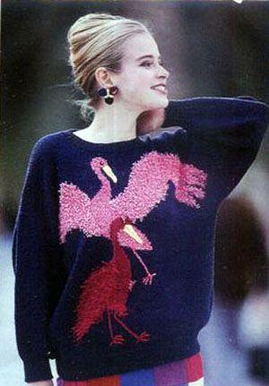 Пуловер с узором Журавли