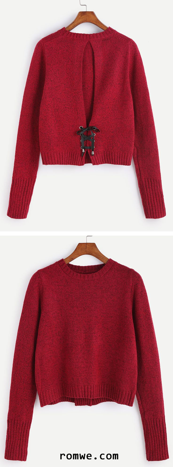 Burgundy Lace Up Back Sweater