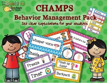 CHAMPS is a behavior management system that allows you to set clear expectations with your students.  To use this pack, print up the labels that you need for your classroom, and as you change activities throughout the day, you update your CHAMPS board to reflect the expectations for that particular activity.