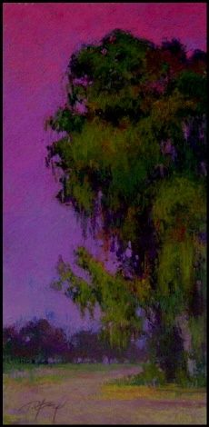 earings!Table Cards, Terry Ford, Reception Ideas, Art Pastel, Pastel Paintings, Sultry Dusk, Hot Pink, Tree Art, Purple Sky