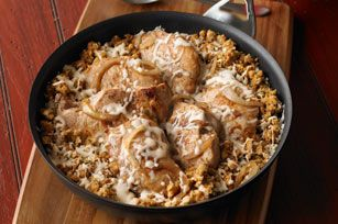 French Onion-Pork Chop Skillet recipe  Bella and I loved it and Emily and Daniel thought it was good but not great...maybe I will put it in the slow cooker next time.