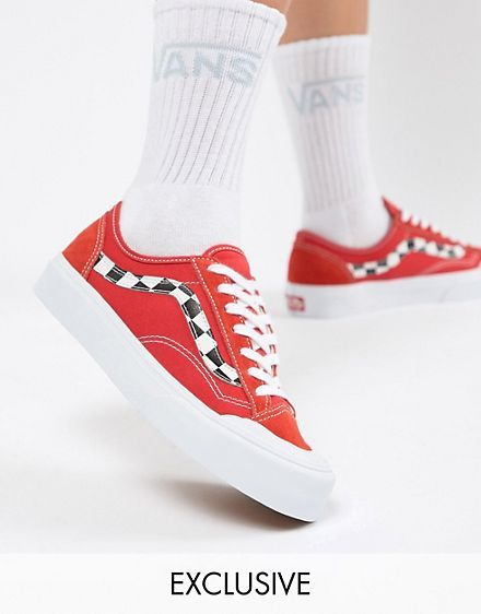 c74a91fb0d142 Vans Exclusive Red Style 36 Decon Sf Sneakers