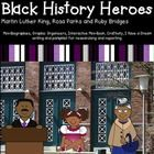 """Martin Luther King Jr., Rosa Parks, Ruby Bridges, Black History Non-FictionPacket contains mini-biographies on each of the three Black History figures: Rosa Parks, Ruby Bridges, and Martin Luther King. Graphic organizers, reading response questions, interactive mini-book, 4 days of vocabulary practice, quiz, craftivity, """"I Have a Dream"""" writing, a pamphlet for research, and a timeline project are also included in the packet. Graphic organizers with text dependent/text evidence activities."""
