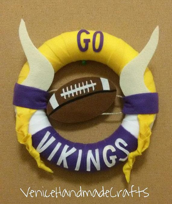 Felt wreath Vikings felt wreathMinnesota by VeniceHandmadeCrafts