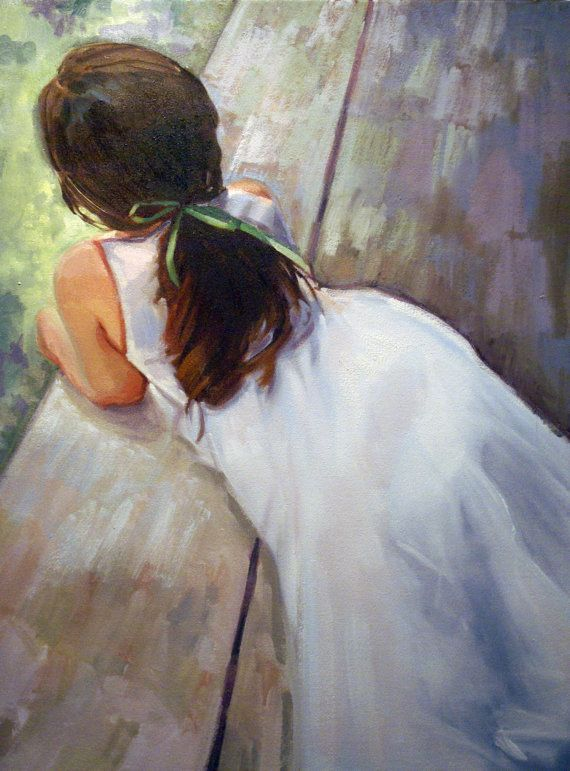 """Items similar to Fine Art Giclee Print of Original Oil Painting of Girl in White dress 8"""" x 10"""" on Etsy"""