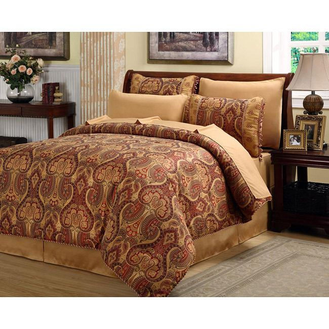 Beautiful Rich Elegant Red Gold Comforter Set 8 Pc Cal