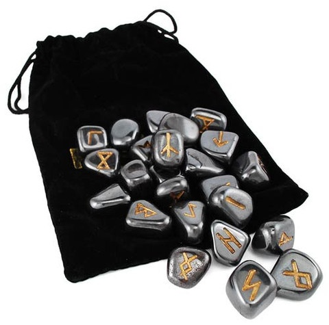 The Hematite Rune set created by Lo Scarabeo provides you with a set of 25 hematite rune stones; 24 featuring the runes of the Norse Elder Futhark, and one blank rune for your ritual divination. They can be used as a powerful tool for divination magic and other magical practice, with each rune representing a force, concept, and power within the Norse traditions. Further, each rune has been carved upon a Hematite stone, which is known for helping to balance energies and ground out negat…