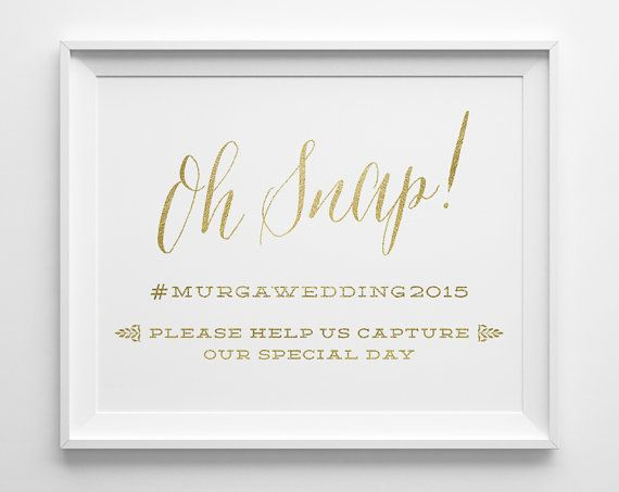 Wedding Signs, Oh Snap Hashtag Social Media Wedding Sign, Matte Faux Gold and White Wedding Reception Sign, Wedding Instagram Sign, WS1G