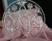Large Star of David Serving Platter, Vintage Cake Plate, Prescut Glass Plate, Vintage Anchor Hocking Platter, Gift Giving