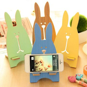 Universal Portable Cute Rabbit Mobile Phone Holder Wooden Tablet Laptop Stand Support for iP